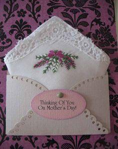Vintage Embroidered Handkerchief Purple Lavender.