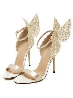 Gold 3D Butterfly Ankle Strap Heeled Sandals