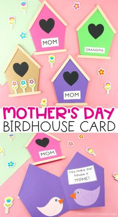 Mother Discover Mothers Day Birdhouse Cards for Kids These birdhouse cards are not only darling but they are easy for preschoolers and kids of all ages to make with our free card template. Summer Crafts For Toddlers, Mothers Day Crafts For Kids, Diy Mothers Day Gifts, Mothers Day Cards, Toddler Crafts, Easy Mother's Day Crafts, Earth Day Crafts, Craft Stick Crafts, Preschool Crafts