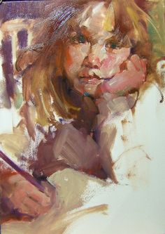 """Diligent"" Kim Roberti's 5x7 Original Oil Contemporary Realism Figures Portraits of a young girl doing homework., painting by artist Kim Roberti"