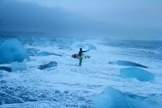 """500px / Photo """"Ice on the beach, mid winter surfing in Iceland"""" by Tim Nunn"""