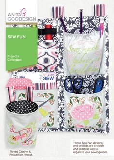These designs & projects are a stylish & practical way to organize the sewing room! Turn your sewing room into a sewing paradise with this collection! Embroidery Thread, Machine Embroidery Designs, Thread Catcher, Anita Goodesign, Urban Threads, Wall Organization, Pin Cushions, Cool Designs, Velcro Straps