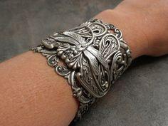 Dragonfly Art Nouveau Silver Cuff Bracelet
