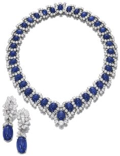 Bulgari Blue Sapphire and White Diamonds and earrings In Platinum