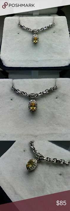 1.25ctw Genuine Sphene & White Topaz 925 Sterling Beautiful Sphene 925 pendant. 1.25 carats total weight genuine Sphene & White Topaz. Platinum over solid 925 sterling silver pendant. From my Grandmothers Estate. Never worn. New in Box. estate 925 Jewelry Necklaces