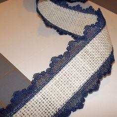 Ok, so these guys have one million kinds of burlap - Ivory Burlap with Navy Lace Ribbon  15 inch x 3 by cherrycheckers, $7.00