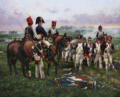 la última obra del maestro Ferrer-Dalmau mostrándonos a soldados franceses capturados tras la batalla de Vitoria (21 de Junio de 1813) la última librada en suelo español durante la Guerra de la Independencia.