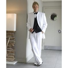 White Mens Suits For Wedding Stand Collar Grooms Tuxedos Three Piece Mens Suits Slim Fit Groomsmen Suit (Jacket+Pants+Vest)  #Affiliate