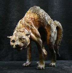 spit  raku sculpture of siamese cat, grey and white cat, spitting cat, silver tabby and tortoishell cat by Lesley D McKenzie - Scottish Ceramic Artist
