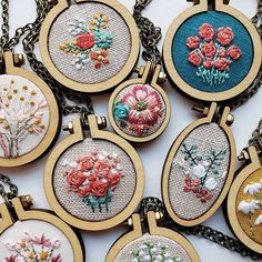 Embroidery Patterns, Hoop Art, and Necklaces by ForestChorusStudio Basic Embroidery Stitches, Shirt Embroidery, Cross Stitch Embroidery, Embroidery Patterns, Embroidery Hoops, My Etsy Shop, Arts And Crafts, Pendants, Handmade Gifts
