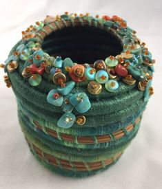 Items similar to Embellished Turquoise Pine Needle Basket by Marcie Stone on Etsy Rope Basket, Basket Weaving, Basket Bag, Pine Needle Crafts, Craft Museum, Pine Needle Baskets, Fabric Bowls, Rope Crafts, Pine Needles