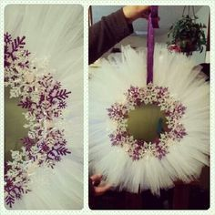 Purple & White Deco Mesh Snowflake Wreath for Christmas 2014 Wreath Crafts, Diy Wreath, Christmas Projects, Holiday Crafts, Tulle Crafts, Tulle Wreath Tutorial, Tutu Wreath, Wreath Ideas, Burlap Wreaths