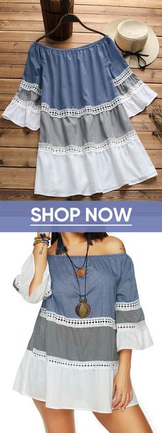 48% OFF! Contrast Color Off Shoulder Half Sleeve Shirts. Summer casual fashion tops for women.