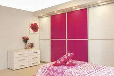 Add a splash of colour for real wow effect - choose from 25 glass colours to suit your decor and try contrasting with white for real impact. We've used 2 panel doors here. #bedroomfurniture