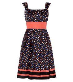 New Look - Mandi Black Polka Dot Stripe Hem Skater Dress Ankle Strap Heels, Vintage Looks, Skater Dress, New Dress, New Look, Spring Fashion, Polka Dots, Cute Outfits, Casual