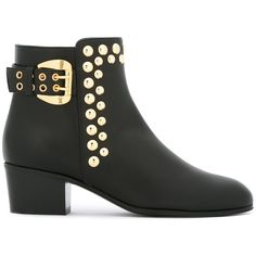 Giuseppe Zanotti Design studded ankle boots (9,405 GTQ) ❤ liked on Polyvore featuring shoes, boots, ankle booties, black, black boots, short leather boots, black ankle boots, leather ankle boots and black bootie