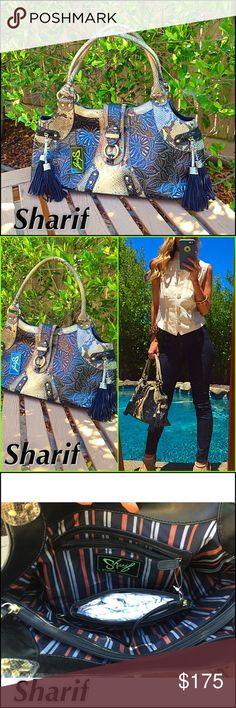 """Python Sharif BRAND NEW TAGS embossed Python & leather satchel. Beautifully brushed brass tone hardware, two large zippers two slip pockets for cell phones, inside lining ref grey and dark blue!. If you never owner a """"Sharif"""" you will own a few after this baby, they are incredible and you will be """"Rocking"""" the serious arm candy!. Impeccable! Sharif Studio Bags Satchels"""