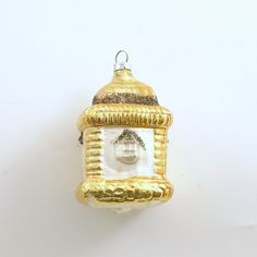 Vintage Glass Christmas Ornament Gold House Cottage
