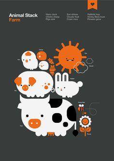 Animal Stack: Farm by Alex Townsend, via Behance