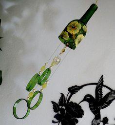 Wine Bottle Windchime, Green Glass Wind Chime, Yellow Flowers, Yard Art,  Patio