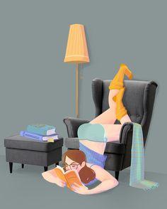 Después de varias horas enganchada a la lectura… las posturas lectoras son acomodativas (ilustración de Ipek Konak)