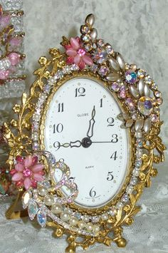 Antique Beautiful Vintage Rhinestone Jeweled Clock Globe West Germany-Phinney, Walker, Clock, Vintage, Pink, Rhinestones, Alarm, Vintage, Victorian,