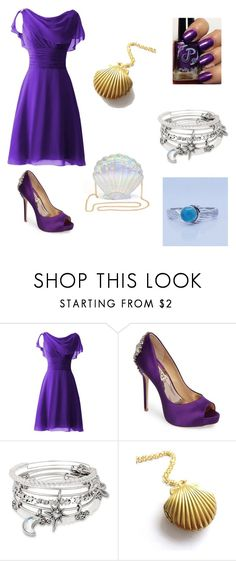 """Purple Dance Dress"" by reaganasp ❤ liked on Polyvore featuring Badgley Mischka and Alex and Ani"