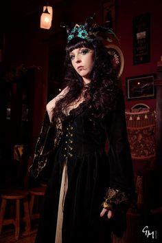 Green Velvet Fairy princess Elf queen Medieval renaissance inspired Halloween costume over- dress robe