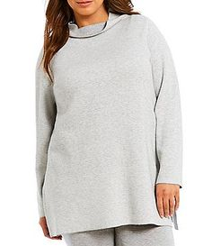 Eileen Fisher Plus Reversible Funnel Neck Tunic