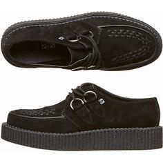 Tuk Mondo Lo Creepers (€41) ❤ liked on Polyvore featuring shoes, creeper, black, t.u.k., women shoes, real leather shoes, black mid heel shoes and t u k shoes