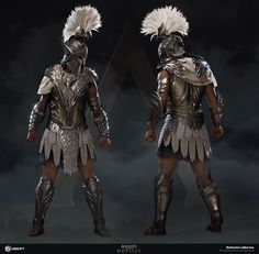 After looking at the concept, I imagined an armor that captured the pure grace that's associated with the mythical Pegasus. Arte Assassins Creed, Assassins Creed Odyssey, Rogue Assassin, Fantasy Character Design, Character Concept, Arte Ninja, Greek Warrior, Spartan Warrior, Armadura Medieval