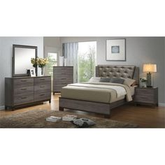 Lowest price online on all Furniture of America Charlsie 4 Piece Upholstered Queen Bedroom Set - IDF-7867Q-4PC