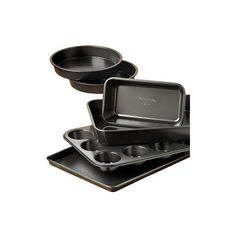 Calphalon  Simply Nonstick 6-Piece Bakeware Set (€25) ❤ liked on Polyvore featuring home, kitchen & dining, bakeware, nonstick loaf pan, nonstick cake pan, calphalon baking sheet, nonstick cookie sheet and nonstick bakeware