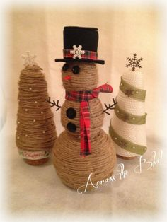 Across the Boulevard: Twine Snowman Twine Crafts, Rope Crafts, Holiday Crafts, Fun Crafts, Prim Christmas, Country Christmas, Christmas Stuff, Christmas Ornaments, Diy Snowman