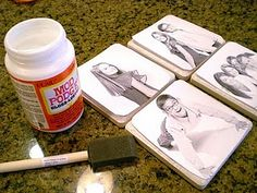 DIY photo coasters. could be fun with old photos!!