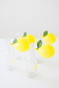 DIY Lemon Balloon Party Straws