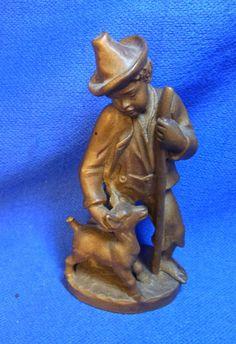 Vintage German Wood Carved Boy Shepherd with Lamb Figure #W*
