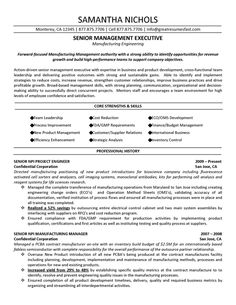 senior management executive manufacturing engineering resume sample