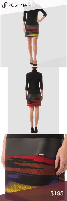 Joseph Ribkoff Tunic Dress With versatility as both a tunic or dress, this multicolored/black tunic from Joseph Ribkoff's Fall 2016 collection has a cowl neckline in addition to banded accent at hip and slim-fit skirt that falls to above the knee.                                       95% Polyester 5% Spandex Joseph Ribkoff Dresses
