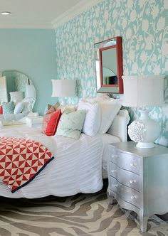 Perfect aqua color for a Jenny Lind bed