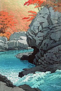 Hasui Kawase: Rock Waterfall