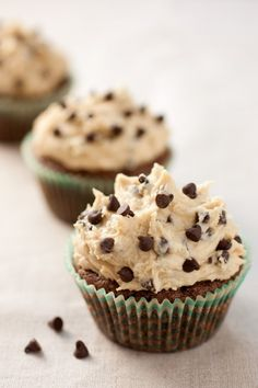 Brownie Cupcakes with Cookie Dough Frosting, who wouldn't like these?! They combine three great desserts into one!