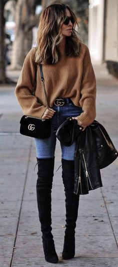fall fashion inspiration / brown sweater + velvet bag + leather jacket + over the knee boots
