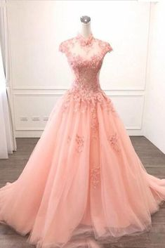 Pink Tulle O Neck Long Cap Sleeve Evening Dress, Prom Dress With Appliques #prom