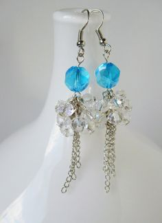Sky Blue and Crystal Cluster-Drop Earrings - Peacock Wedding Collection