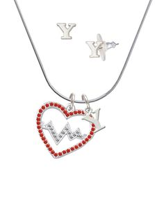 Large Red Crystal Heart with Clear Heartbeat - Y Initial Charm Necklace and Stud Earrings Jewelry Set * Visit the image link more details. (This is an affiliate link and I receive a commission for the sales)