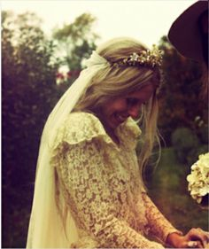 I love the crown and the way the veil hangs off of her head.