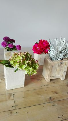 wooden flower pots, pots, pallet pot, reclaimed wood, working place,........ I love my work