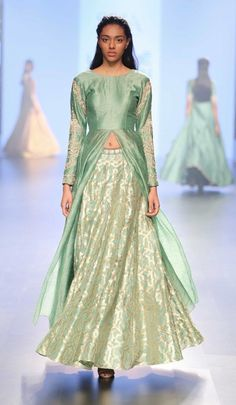 olive green silhouette, pastel green and gold lehenga