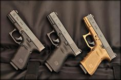 Glock 19, oh i like that gold one!Loading that magazine is a pain! Get your Magazine speedloader today! http://www.amazon.com/shops/raeind